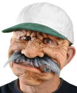 Maska lateksowa - Staruszek z cygarem