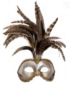 Maska wenecka - Colombina Strucco Piume VIII