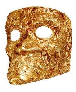 Maska wenecka - Bauta Strucco oro