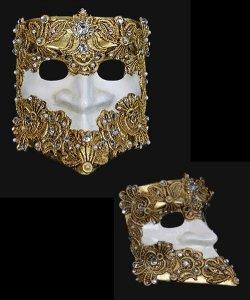 Maska wenecka - Bauta Macram G/W