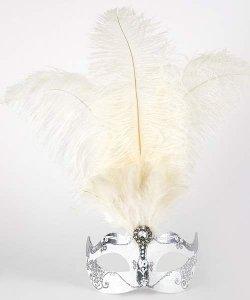 Maska wenecka - Colombina Piume Stella Silver White