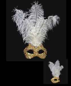 Maska wenecka - Colombina Piume Macramè Gold White