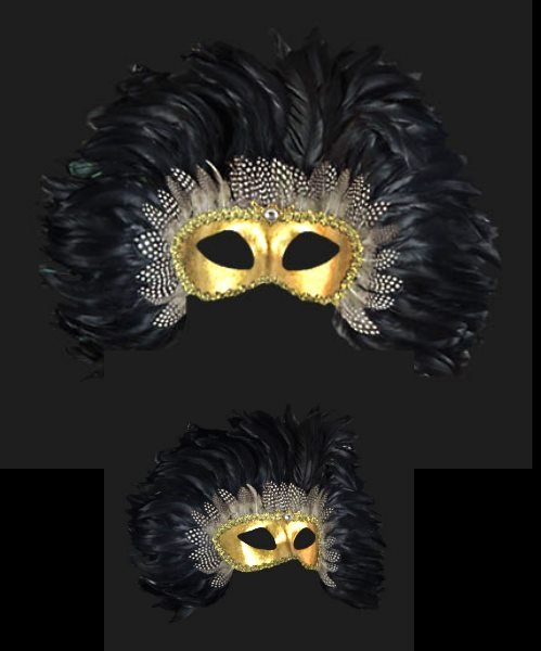 Maska wenecka - Colombina Piume Reale Black