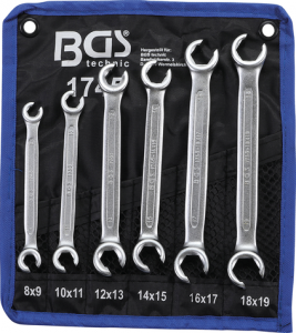 BGS Klucze oczkowe otwarte 8-19mm 6szt