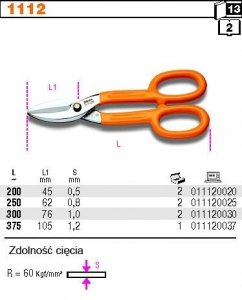 Beta 1112/200 Nożyce do blachy 200mm
