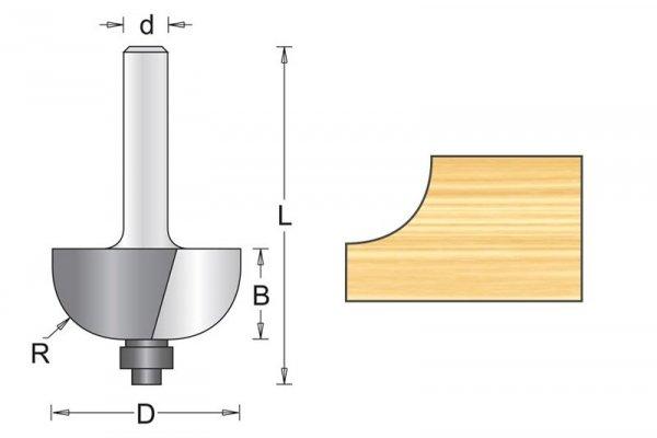 Frez wyokrąglający z prowadzeniem 25.4x52x7.9mm, chwyt 8mm