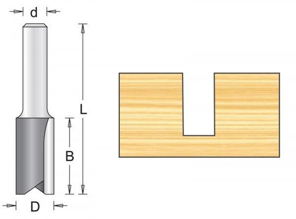 Frez prosty 8X25/63mm, chwyt 8mm