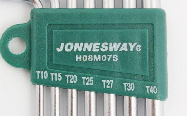 JONNESWAY ZESTAW 7 KLUCZY KĄTOWYCH TORX Z OTWOREM H08MT07S