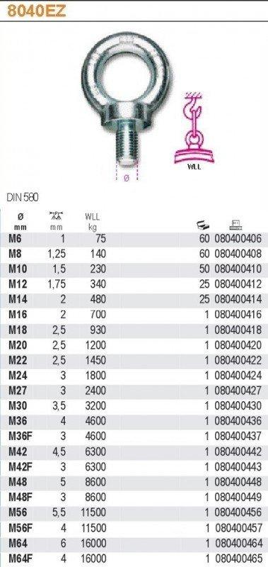 Robur 8040EZ/6 Śruba z uchem ocynkowana M6