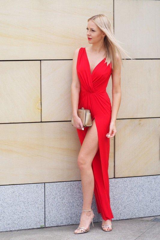 Maxi Sukienka Dalia z rozcięciem - czerwony