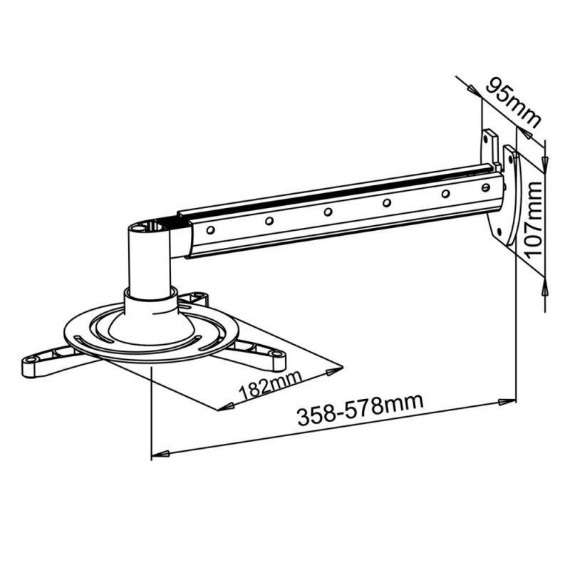 ART UCHWYT ścienny 36-58cm DO PROJEKTORA  15kg P-103 uniwersalny pełna regulacja