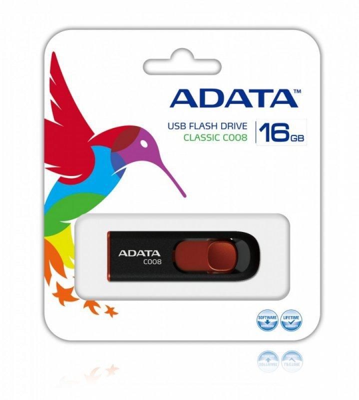 Adata Pendrive DashDrive Classic C008 16GB USB2.0 czarno-czerwony