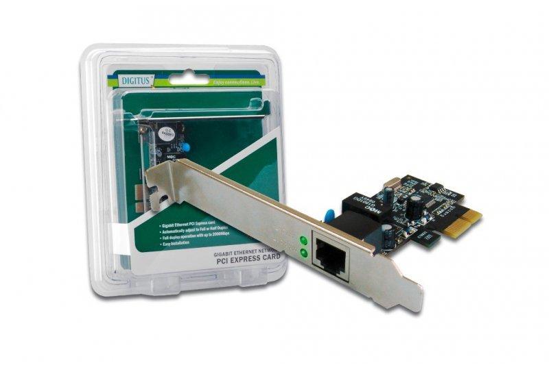 Digitus Karta sieciowa przewodowa PCI Express do Gigabit 10/100/1000Mbps, Low Profile