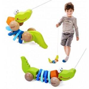 Zabawka Drewniana Classic World Krokodyl Z Dźwiękami Do Ciągania Ze Sznureczkiem