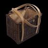 Torebka - kosz z obszyciem (wenge/karmelowe) - sklep z wiklina - zdjęcie
