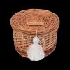 Szkatułka okrągła z pomponem (14cm) - sklep z wiklina - zdjęcie