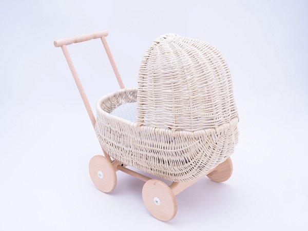 Wózek dla lalek Biały (Standard/53cm) - Sklep z wiklina - zdjęcie 3