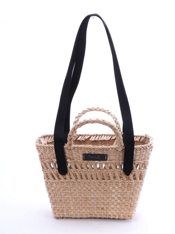 Kosz - torba plażowa (Rafia/Pas/Czarny) - Sklep z wiklina - zdjęcie