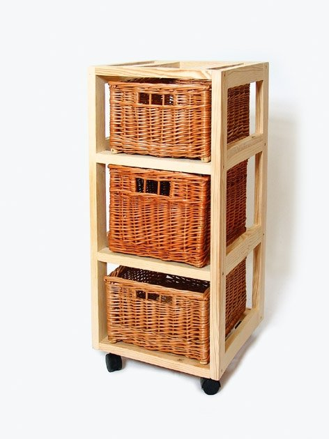 Drewniany regał na kółkach (Pojemnik/wiklina/3) - sklep z wiklina - zdjęcie
