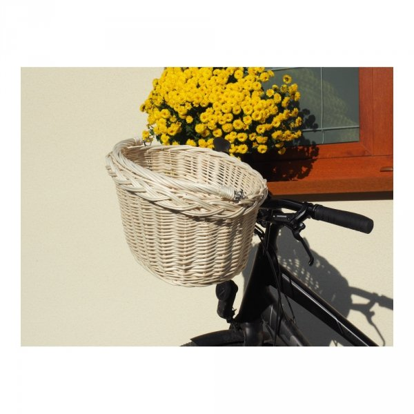 Kosz rowerowy przedni (haki, biały) - sklep z wiklina - zdjęcie 5