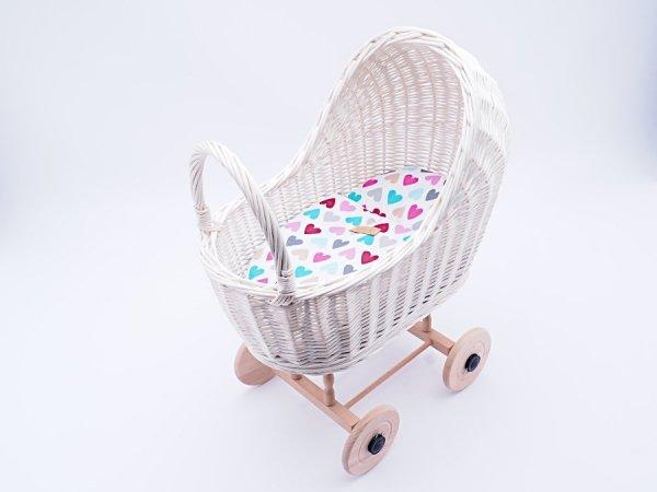 Wózek dla lalek biały (Klasyczny/Wzór) - Sklep z wiklina - zdjęcie 1