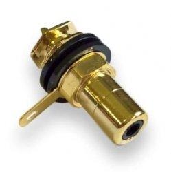 Gniazdo RCA czarne izolowane CMC Gold
