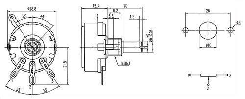 Potencjometr 47k/B liniowy 2W