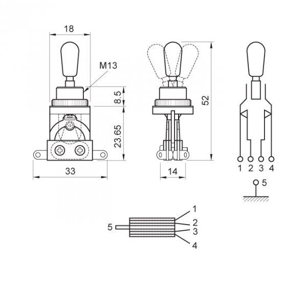 Przełącznik styl Les Paul 3 pozycje niklowany BK