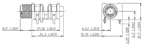 Gniazdo Jack 6,3mm Mono NRJ4HF slim