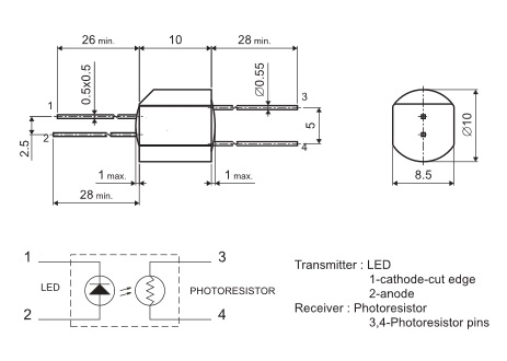 Optocoupler VTL5C1 Tesla fotorezystor