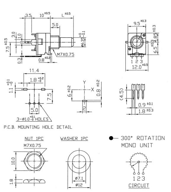 Alpha 9mm - 10k/A logarytmiczny