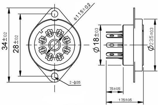 Podstawka 8pin rimlock B8A