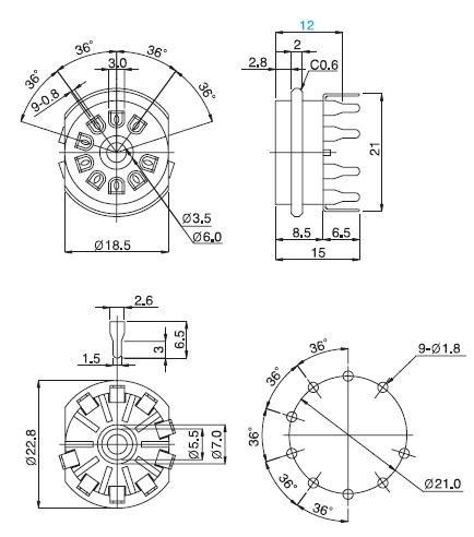 Podstawka Noval 9pin druk micalex typ2 Belton