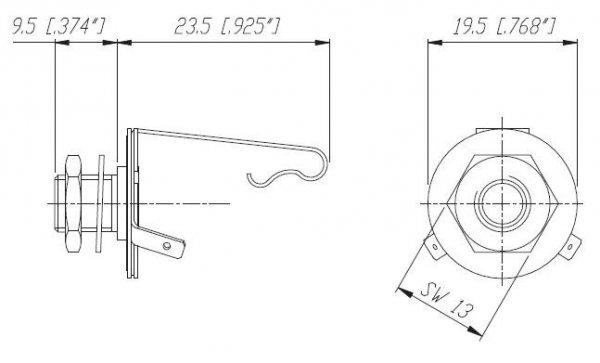 Gniazdo Jack 6,3mm Mono, metalowe NYS229L