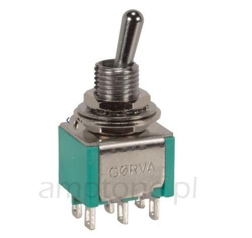 Przełącznik dźwigniowy DPDT mini GORVA, short