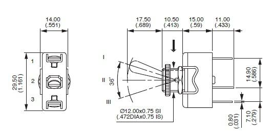 Przełącznik dźwigniowy Apem SPDT
