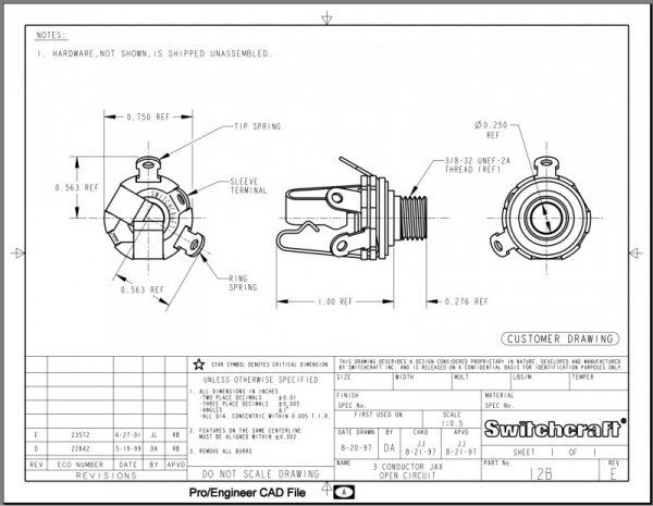 Gniazdo Jack Switchcraft 6,3mm Metal Stereo SC-12B