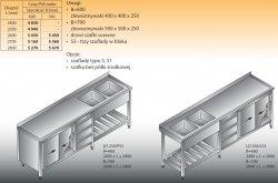 Stół zlewozmywakowy 2-zbiornikowy lo 258/s3 2700x700