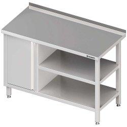 Stół przyścienny z szafką (L),i 2-ma półkami 1300x700x850 mm