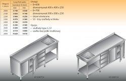 Stół zlewozmywakowy 1-zbiornikowy lo 224/s3 - 2700x700