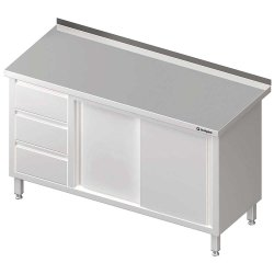 Stół przyścienny z blokiem trzech szuflad (L),drzwi suwane 1800x600x850 mm