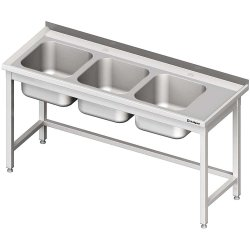 Stół ze zlewem 3-kom.(L),bez półki 1600x700x850 mm