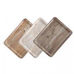 Taca do serwowania z nadrukiem drewna jasny dąb 370x530