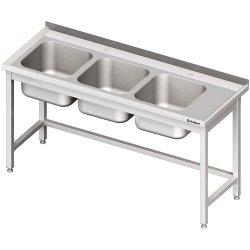Stół ze zlewem 3-kom.(L),bez półki 1600x600x850 mm