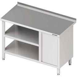 Stół przyścienny z szafką (P),i 2-ma półkami 1500x600x850 mm