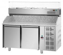 Stół chłodniczy do pizzy, 3-drzwiowy z blatem granitowym oraz nadstawą chłodniczą na 9x GN 1/3