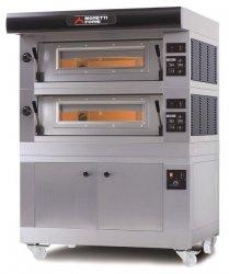 Moretti Forni - elektryczny dwukomorowy piec do pizzy P80E z okapem i bazą - kod MFP80D