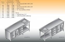 Stół zlewozmywakowy 1-zbiornikowy lo 227/s3 - 2800x700
