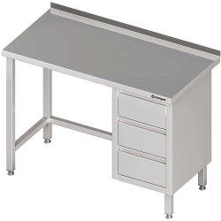 Stół przyścienny z blokiem trzech szuflad (P),bez półki 1800x600x850 mm