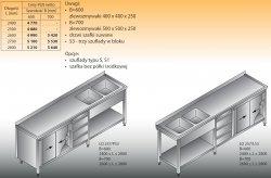 Stół zlewozmywakowy 2-zbiornikowy lo 257/s3 - 2700x700